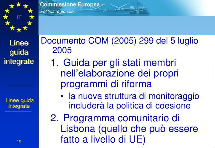 Documento COM (2005) 299 del 5 luglio 2005