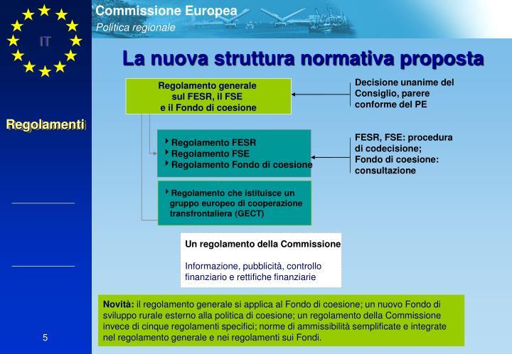 La nuova struttura normativa proposta