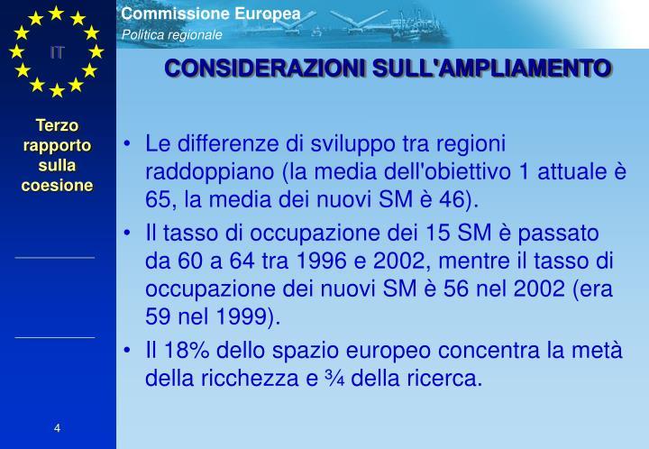 Le differenze di sviluppo tra regioni raddoppiano (la media dell'obiettivo 1 attuale è 65, la media dei nuovi SM è 46).