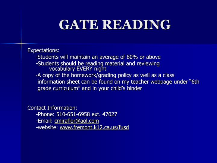 Gate reading1