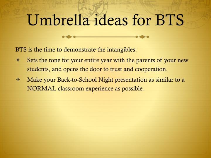 Umbrella ideas for BTS