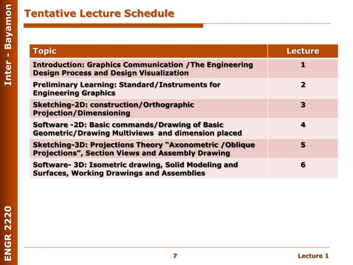 Tentative Lecture Schedule