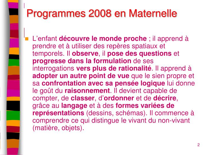 Programmes 2008 en
