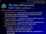 the data management life cycle continued