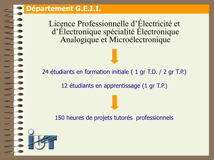 Licence Professionnelle d'Électricité et d'Électronique spécialité Électronique Analogique et Microélectronique