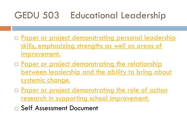 GEDU 503Educational Leadership