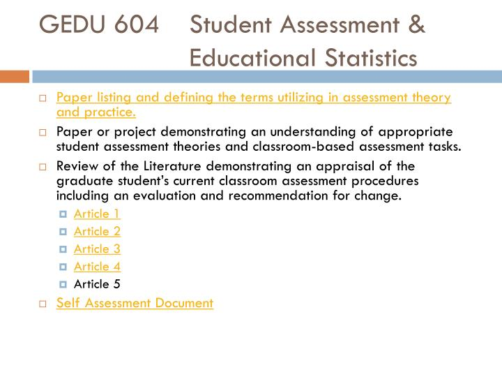 GEDU 604Student Assessment &