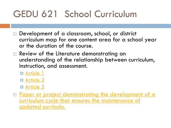 GEDU 621School Curriculum