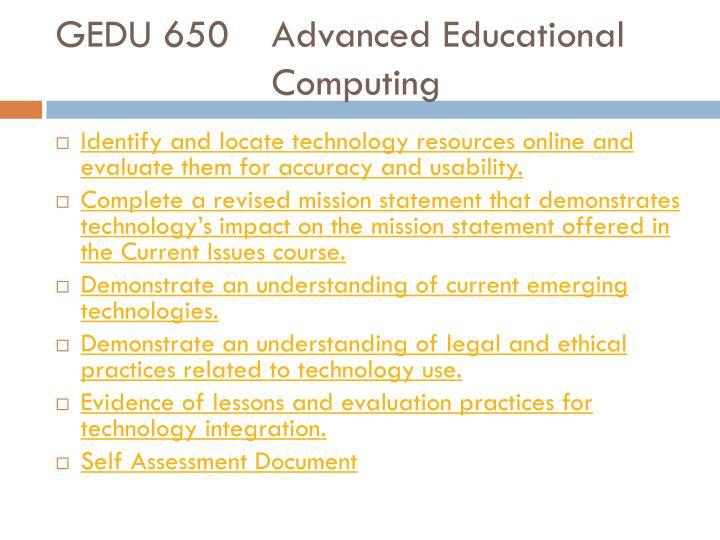 GEDU 650Advanced Educational