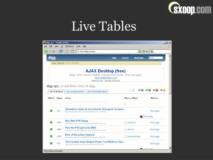Live Tables