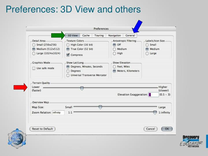 Preferences: 3D View and others