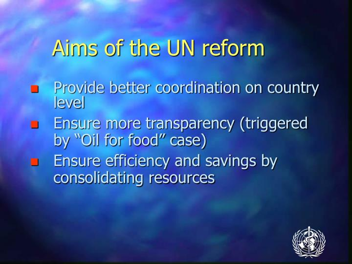 Aims of the UN reform