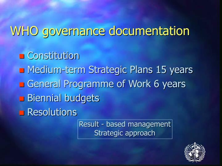 WHO governance documentation