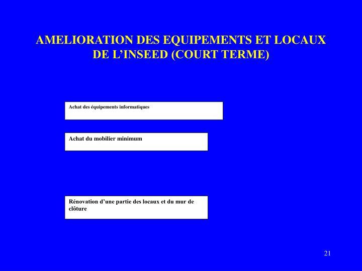 AMELIORATION DES EQUIPEMENTS ET LOCAUX DE L'INSEED (COURT TERME)