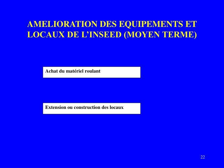 AMELIORATION DES EQUIPEMENTS ET LOCAUX DE L'INSEED (MOYEN TERME)