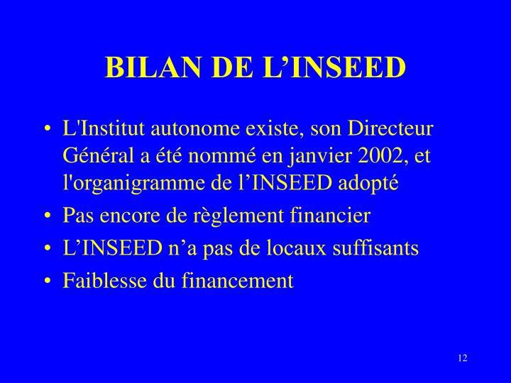 BILAN DE L'INSEED