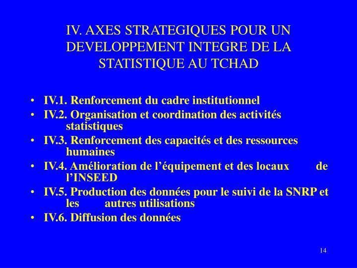IV. AXES STRATEGIQUES POUR UN DEVELOPPEMENT INTEGRE DE LA STATISTIQUE AU TCHAD