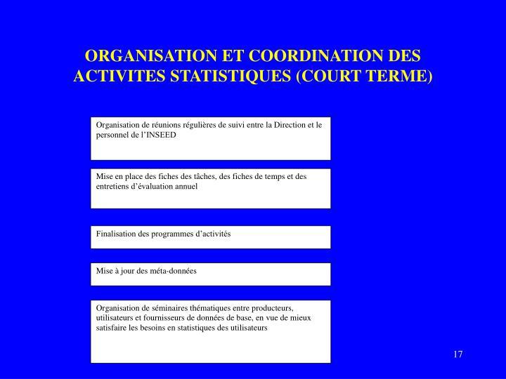 ORGANISATION ET COORDINATION DES ACTIVITES STATISTIQUES (COURT TERME)