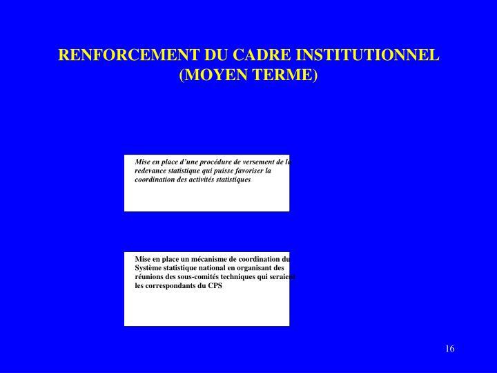 RENFORCEMENT DU CADRE INSTITUTIONNEL (MOYEN TERME)