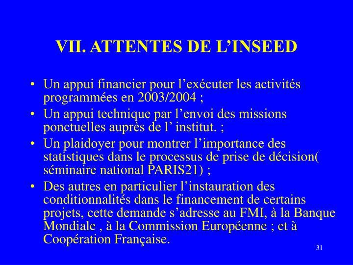 VII. ATTENTES DE L'INSEED