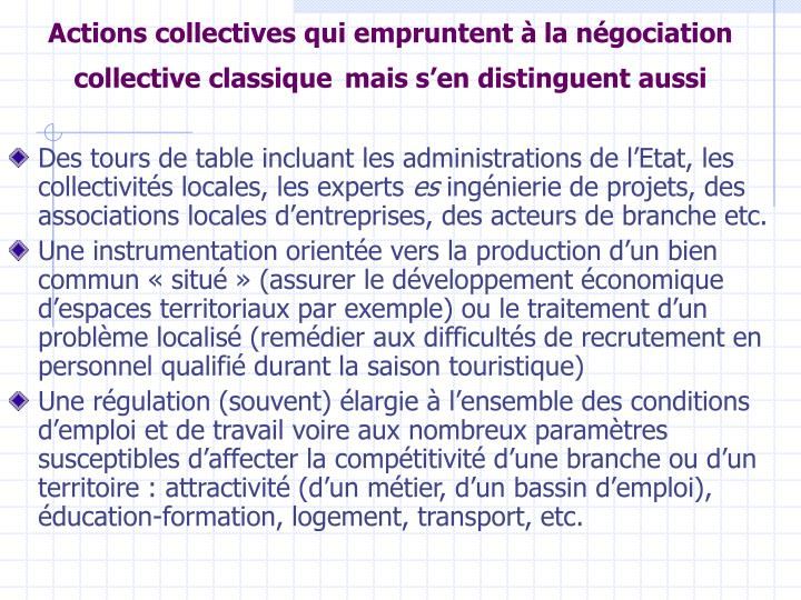Actions collectives qui empruntent à
