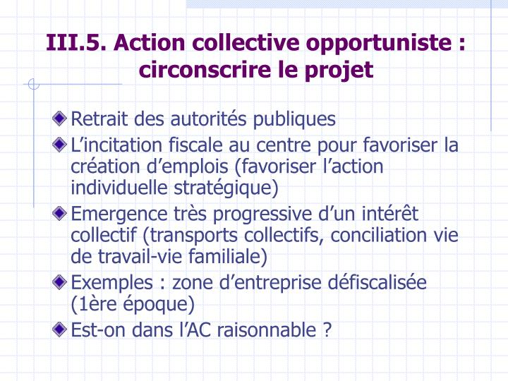 III.5. Action collective opportuniste : circonscrire le projet