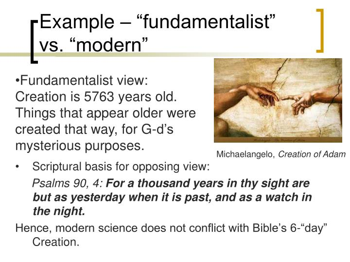 "Example – ""fundamentalist"" vs. ""modern"""