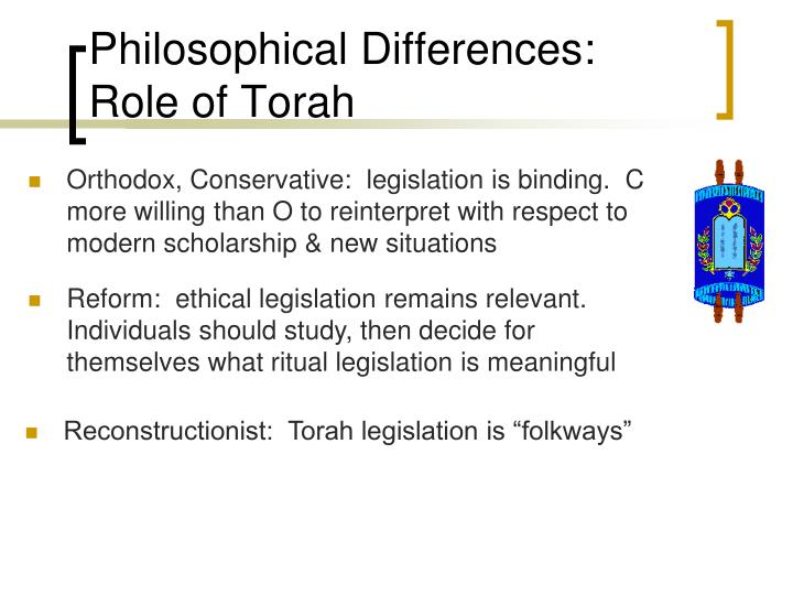 Philosophical Differences: Role of Torah