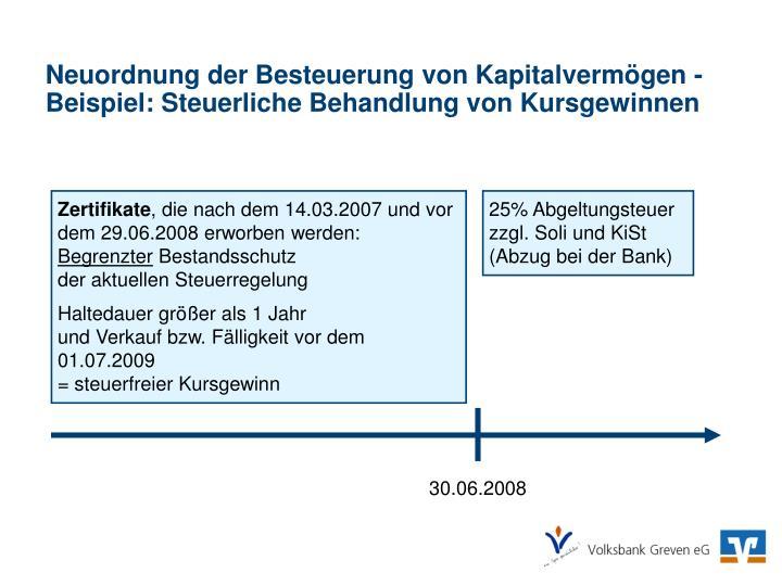 Neuordnung der Besteuerung von Kapitalvermögen -
