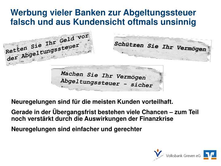 Werbung vieler Banken zur Abgeltungssteuer