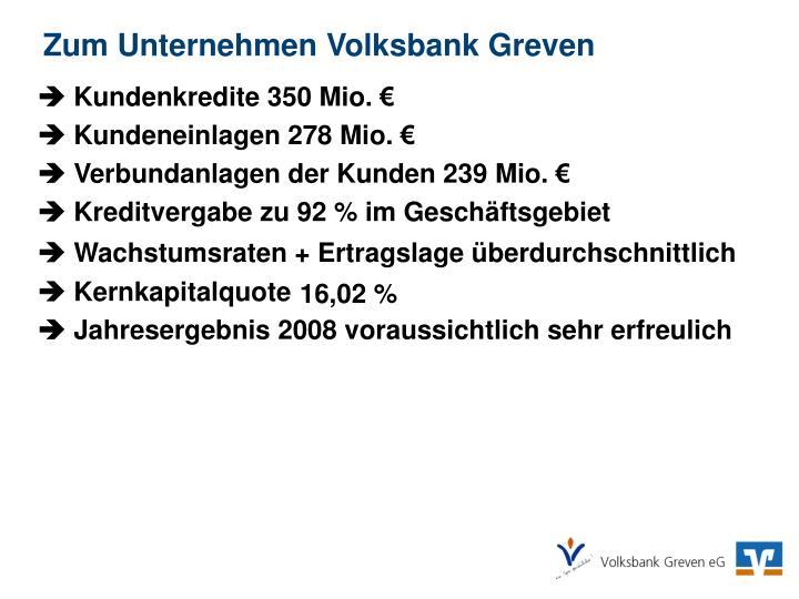 Zum Unternehmen Volksbank Greven