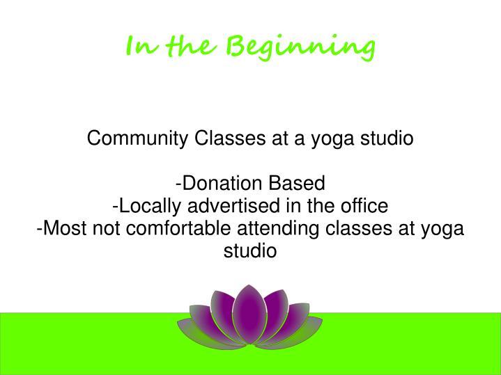 Community Classes at a yoga studio