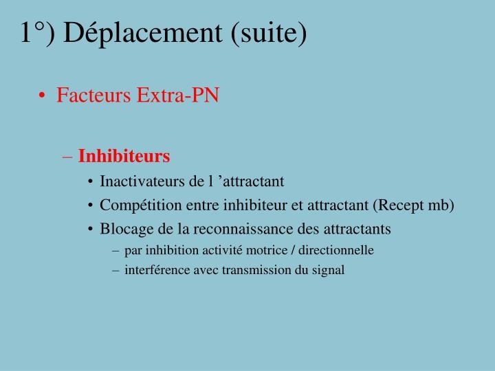 1°) Déplacement (suite)