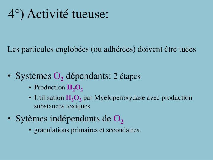 4°) Activité tueuse: