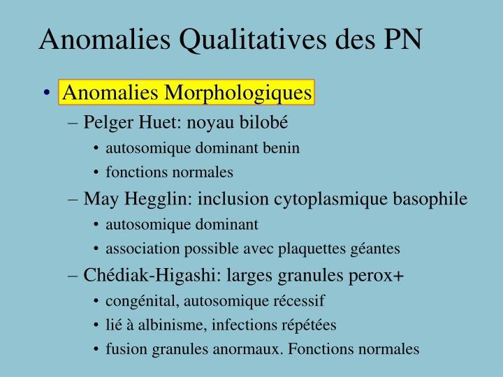 Anomalies Qualitatives des PN