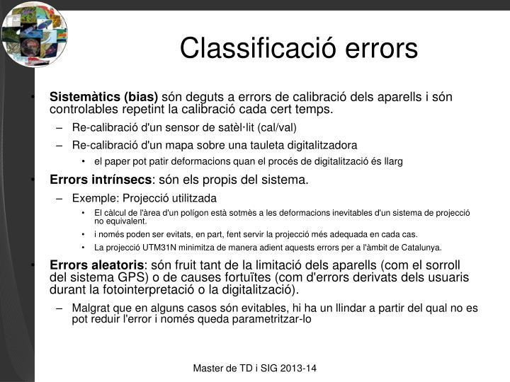 Classificació errors