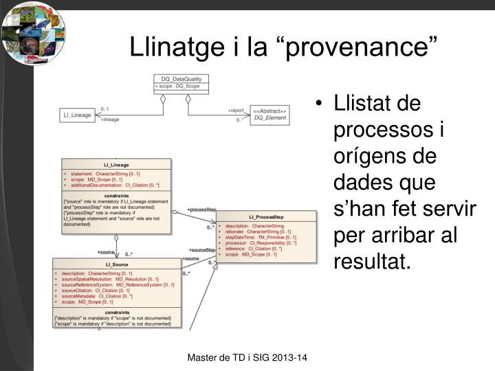 Llistat de processos i orígens de dades que s'han fet servir per arribar al resultat.