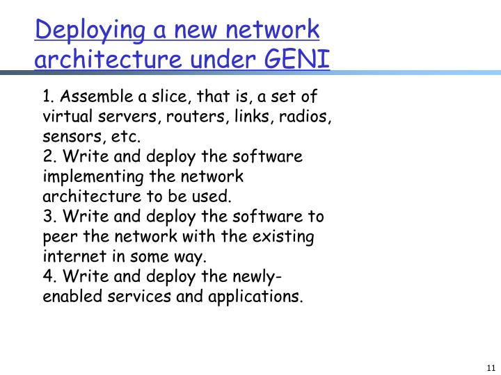 Deploying a new network architecture under GENI