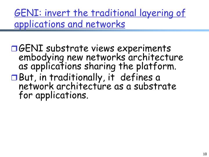 GENI: invert the traditional layering of applications and networks