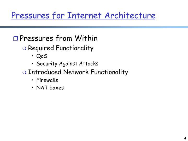 Pressures for Internet Architecture