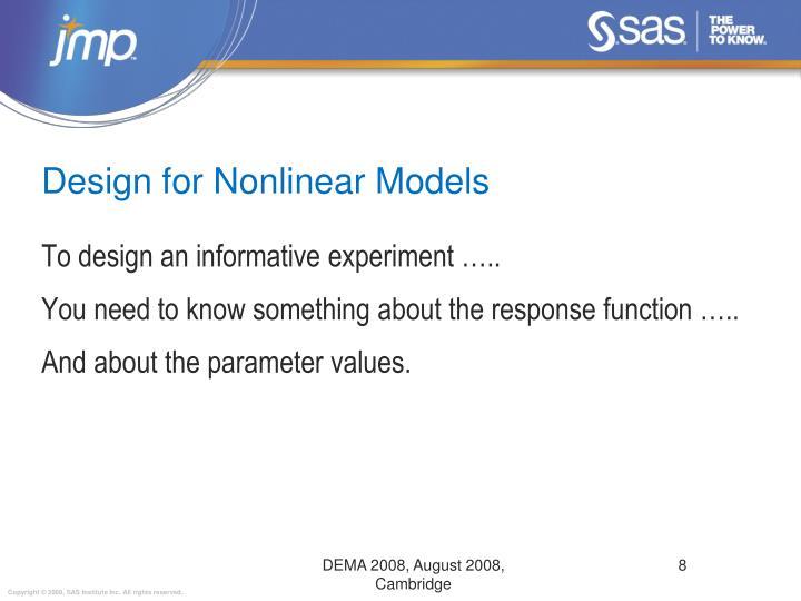 Design for Nonlinear Models