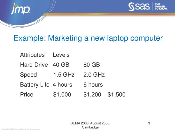 Example: Marketing a new laptop computer