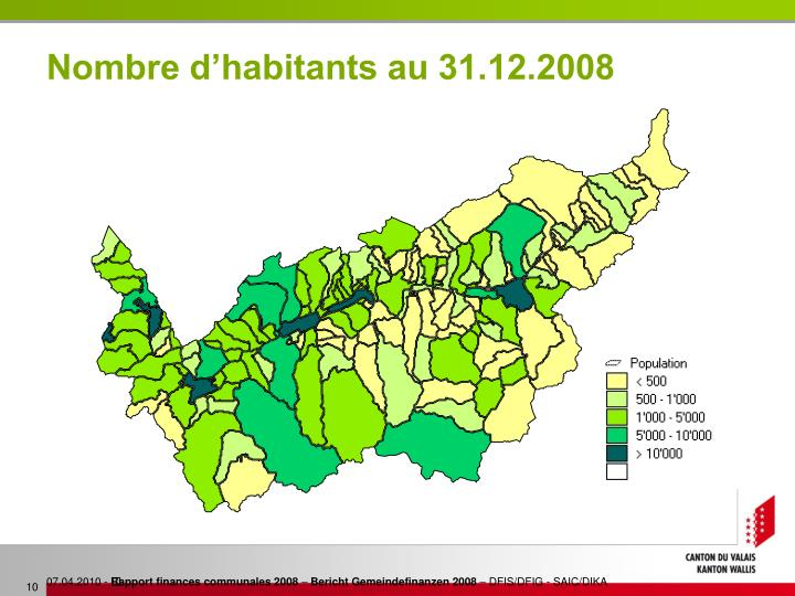 Nombre d'habitants au 31.12.2008