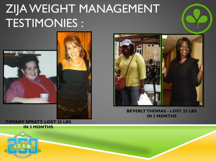 ZIJA WEIGHT MANAGEMENT TESTIMONIES :