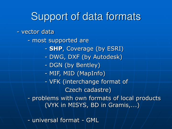 Support of data formats