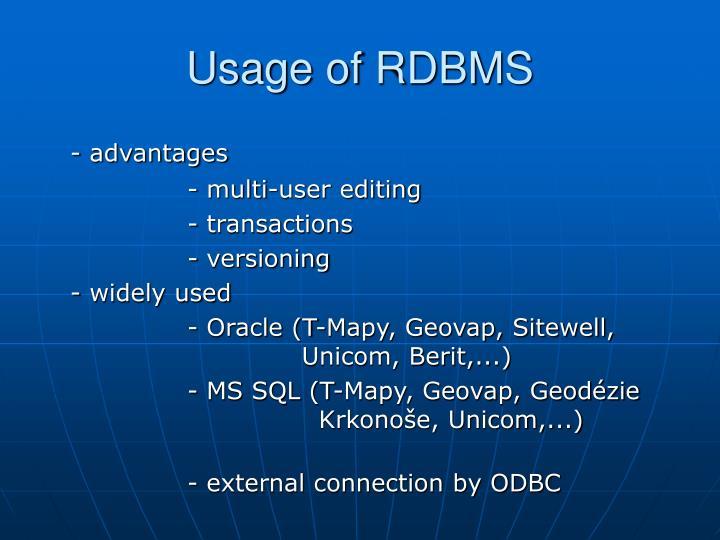 Usage of RDBMS