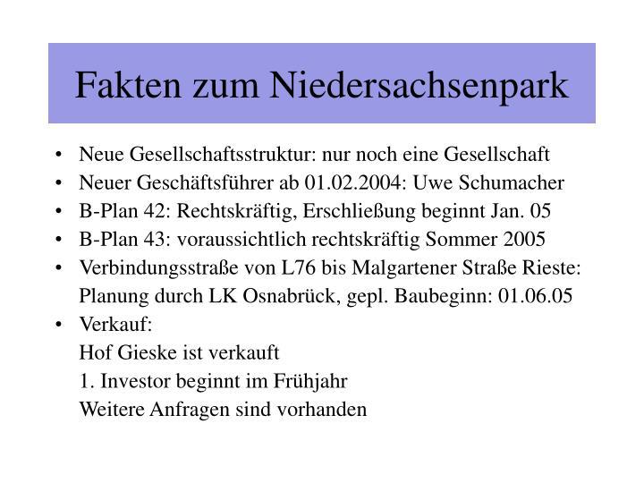 Fakten zum Niedersachsenpark