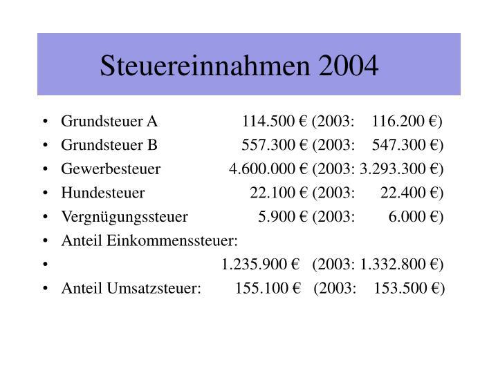 Steuereinnahmen 2004