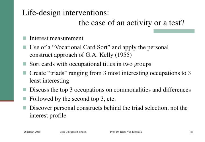 Life-design interventions: