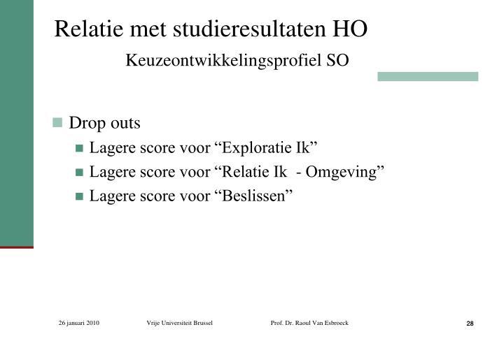 Relatie met studieresultaten HO